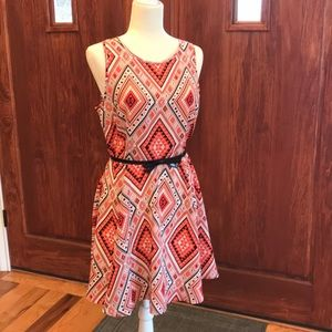 Dresses & Skirts - Coral geometric sleeveless dress.  Skirt is lined